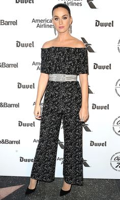 Katy Perry in an off-the-shoulder Lela Rose jumpsuit