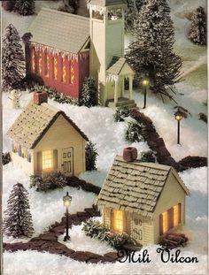 How to make mini houses. Christmas Village Display, Christmas Village Houses, Christmas Villages, Christmas Decorations, Christmas Ornaments, Village Noel, Putz Houses, Fairy Houses, All Things Christmas