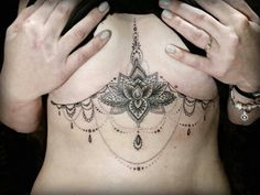 underboob and lace detailing for the rest of sternum, except planets/stars/moons for the jewels : (Hip Flexor Tattoo)