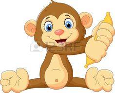 monos: Mono de dibujos animados con la fruta de banano Vectores