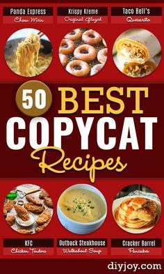 Copycat Recipes - 50 Best Restaurant Copycats To Try Today Want the best copycat recipes from your favorite top restaurants -Olive Garden, KFC, Chipotle, Starbucks & Cheescake Factory? Copycat Recipes Kfc, Copykat Recipes, Olive Garden Copycat Recipes, Cracker Barrel Copycat Recipes, Cooking Recipes, Healthy Recipes, Cooking Corn, Cooking Pasta, Fast Recipes