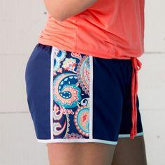 Emerson Paisley Active Shorts ~ Monogram Active Shorts ~ Monogrammed Workout Shorts ~ Monogrammed Running Shorts ~ Emerson Paisley Shorts