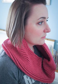Pink Ripple Infinity Cowl by JenStarKnits on Etsy