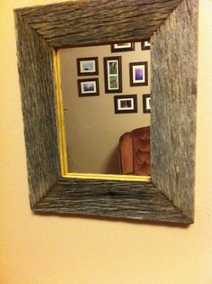 "Barnwood Framed Bathroom Mirrors 22x28 –2"" wide barnwood reclaimed wood open frame (no glass or"