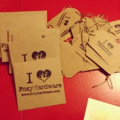 SSC custom stamps for business kraft cards and tags.