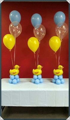 Fun DIY Baby Shower Decorations for Boys - Rubber Ducks rubber duck balloons Simple Baby Shower, Baby Shower Fun, Baby Shower Balloons, Baby Shower Parties, Baby Shower Themes, Baby Shower Gifts, Shower Ideas, Shower Party, Rubber Ducky Party