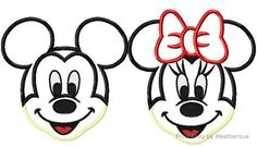Smiling Miss and Mister Mouse TWO design SET Machine Applique Embroidery Designs, Multiple Sizes, INCLUDING 4 INCH