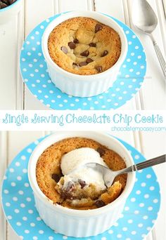When you only just want one cookie - a single, warm chocolate chip cookie baked in a ramekin then topped with cold vanilla ice cream. Egg free!
