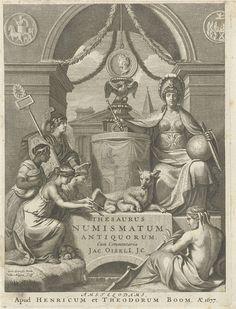 Christiaan Hagen | Allegorische figuren bij een triomfboog, Christiaan Hagen, Hendrick en Dirk Boom, 1677 | Onder een triomfboog zit rechts een allegorische vrouwenfiguur met zwaard, wereldbol en scepter. Zij draagt een helm op het hoofd. Links vier figuren. In het midden de titel met daarboven een liggende wolvin, die Romulus en Remus voedt. Op de voorgrond een zittende riviergod aan het water. Onderaan twee regels in het Latijn.