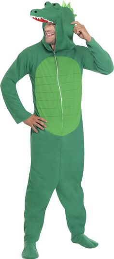 Disfraz cocodrilo adulto: Este disfraz de cocodrilo para adulto consta de un mono. El mono es de color verde y el vientre en verde claro y cubre todo el cuerpo hasta los pies. Se cierra por delante con una cremalleraLa...