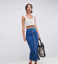 f1ed90c7ba ASOS Tall ASOS DESIGN Tall denim midi skirt with buttons in midwash blue  European Summer