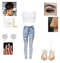 """""""Untitled #114"""" by claudinejoacin on Polyvore featuring Topshop, Chanel, OLIVIA MILLER and River Island"""