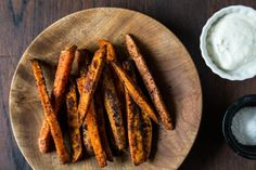 Southwestern Spiced Sweet Potato Fries with Chili-Cilantro Sour Cream - Food 52 Cilantro Recipes, Spicy Recipes, Cooking Recipes, Healthy Recipes, Cilantro Sauce, Cream Recipes, Healthy Food, Yummy Food, Good Sweet Potato Recipe