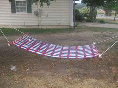 Make a Duct Tape Hammock by Dadzilla with two dowels and about three rolls of duct tape. #Hammock #Duct_Tape #Dadzilla