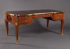 An Important Louis XV Style Gilt-Bronze Mounted Parquetry Inlaid #Bureau Plat by François Linke, After a Model by Jean François Oeben. French, Circa 1880. #adrianalan