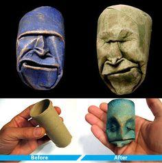 sculptures from empty toilet paper rolls