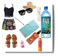 """""""Beach day and essentials"""" by georgia-macarthur ❤ liked on Polyvore featuring Maybelline, Aéropostale, Clarins, Hawaiian Tropic, Yves Saint Laurent, Eugenia Kim, John Robshaw, Penfield and Lipsy"""