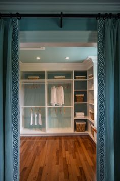 HGTV® Dream Home 2015 Master Closet | Floor-to-ceiling drapes serve as a divider from master closet and offer privacy.
