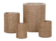 "BURLAP VASES / $8 - $45  •petite: 3"" diamter x 4""H  •small: 3.5"" diamter x 4.25""H  •medium: 4.75"" diameter x 6""H  •large: 7"" diameter x 9""H  •glass cylinder with burlap wrap"