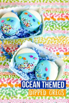 These Ocean Themed Dipped Oreos are so simple and easy to make. No baking required. Just fun decorating and snacking once done!  #Oreos #dessert #ocean #cookies #LivingLifeasMoms
