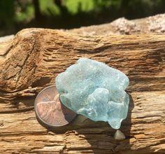 Genuine Old Aqua Seafoam Beach Sea Glass Surf Tumbled Light  Blue bonfire