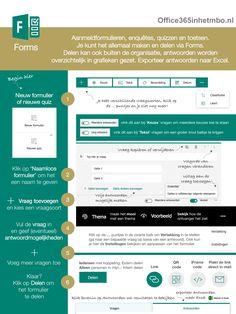 Instructiekaart Forms voor docenten die Office 365 gebruiken. Office 365, School