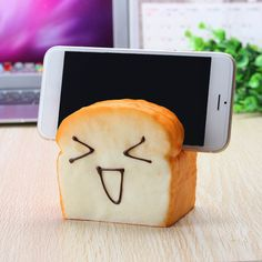 Jumbo Squishy 7 Seconds Slow Raising Slice Toast Joy Happy Faces Mobile Phone Seat Cellphone Holder Sale - Banggood.com