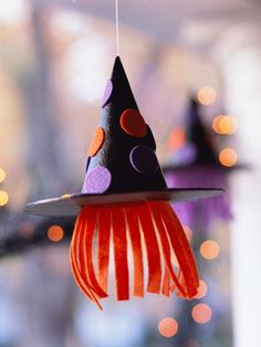 Hang a row of cute felt-covered witch hats on your front porch.