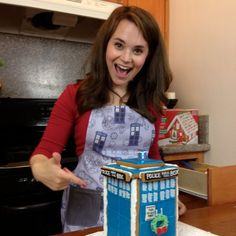 Dr Who Tardis Apron worn by Rosanna Pansino on Nerdy Nummies by huckleberrybaby on Etsy, $58.00