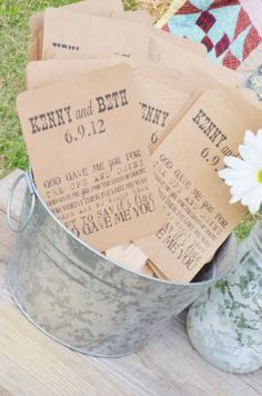Farm wedding- A customized fan for guests!!! (Definitely might be using this idea!)