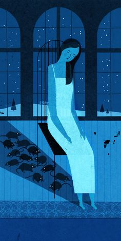 nutcracker - Keith Negley / I like the artist's use of analogous colors to really express the temperature(?) and the time of the setting. It also makes the illustration seem more magical!