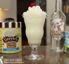 Pina Colada Milkshake - For more delicious recipes and drinks, visit us here: www.tipsybartender.com