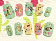 Kawaii nails deco nails pastel spring cat kitteh kitty by Aya1gou, $19.00