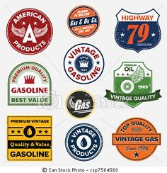 vector vintage retro gas signs stock illustration royalty free illustrations stock clip