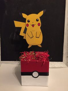 Pokemon centerpieces by jessiekaydesigns on Etsy Pokemon Valentines Box, Valentine Day Boxes, Valentines Day Party, Pokemon Party, Pokemon Birthday, Pokemon Go, Pikachu, Birthday Party Centerpieces, Party Favors