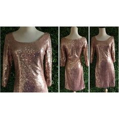 Sample Rose Gold Sequin Short Semi-Fitted Scoop Neck 3/4 Sleeve Dress... ($90) ❤ liked on Polyvore featuring dresses, dark olive, women's clothing, evening dresses, party dresses, sequin party dresses, short cocktail dresses and bridal party dresses