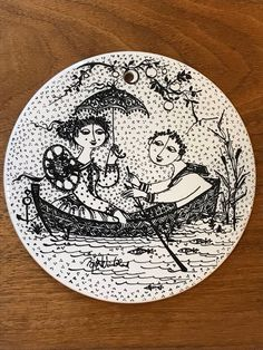 "Vintage Bjorn Wiinblad Rosenthal ""Juli Nocturne"" Tile Trivet Months of the Year Nymolle Denmark | Mi"