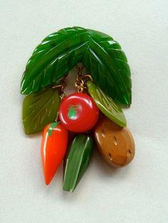Vintage Bakelite Multi Vegetable Pin Brooch