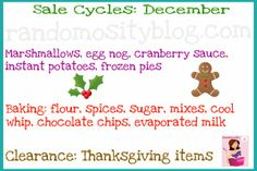 Cycles to find things on sale in December