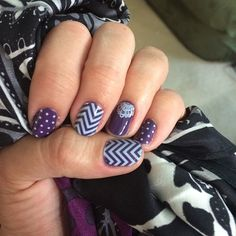 White Mini Polka, White Chevron, and Touch of Lace - all over Iris lacquer.