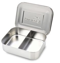 """LunchBots DUO Stainless Steel 2 Compartment Divided Food Container $18  6"""" x 5"""" x 1.75"""""""