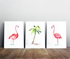 ➽➽ Art prints of my flamingo paintings  SIZE OF PAPER: Please choose when you order  ➽ ABOUT THE FINE ART PRINTS (A4 and smaller sizes)  HIGH