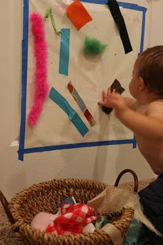 Baby Play: Fabric Scraps Treasure Bin and Sticky Wall  (School Time Snippets)