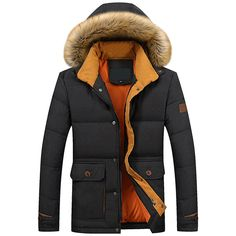 Sale 12% (65.57$) - Stylish Mens White Duck Down Jacket Casual Hooded Coat Thick Winter
