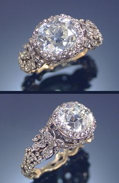 DIAMOND RING, SECOND HALF OF THE 19TH CENTURY. The central collet-set cushion-shaped diamond dressed by an open work bezel set with rose-cut diamonds, to a shank designed as entwined vines of grapes and leaves entirely decorated with rose-cut diamonds