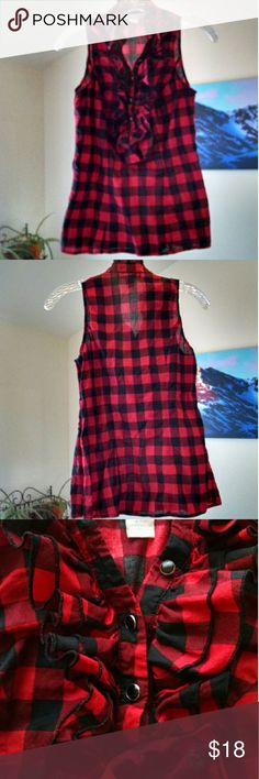 Charlotte Russe Buffalo plaid top S  Darling and perfect for fall this red and black Buffalo plaid sleeveless top features a ruffled button front and side zipper. In excellent condition. Charlotte Russe Tops Blouses