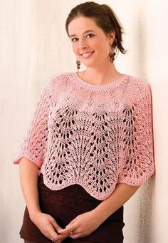 Free knitting pattern for Lacy Waves Poncho capelet by Sue Childress tba Woman& knitting patterns Capelet Knitting Pattern, Poncho Au Crochet, Knitted Shawls, Knit Or Crochet, Lace Knitting, Knitting Stitches, Knitting Patterns Free, Knit Patterns, Free Pattern