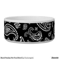 Black Paisley Pet Food Bowl