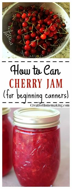 to Can Cherry Jam Recipe for canning homemade cherry jam.Recipe for canning homemade cherry jam. Cherry Jam Recipes, Jelly Recipes, Bath Recipes, Recipe For Cherry Jam, Recipes With Cherries, Drink Recipes, Homemade Jelly, Homemade Butter, Pressure Canning Recipes