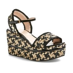 "Gucci 'Maya' Wedge Platform Sandal, 3 1/4"" heel (€615) ❤ liked on Polyvore featuring shoes, sandals, black fabric, gucci sandals, wedge sandals, ankle strap high heel sandals, platform wedge sandals and ankle strap sandals"
